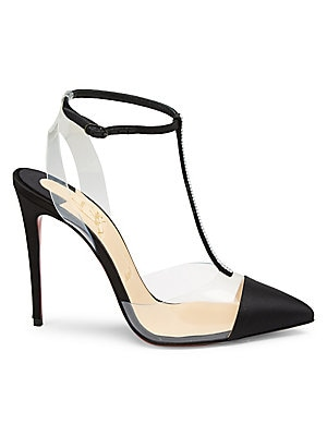 Image of A crystal t-strap adds shimmer to peekaboo satin and PVC pumps. PVC/silk upper Point toe Buckle closure Leather lining and sole Made in Italy SIZE Self-covered stiletto heel, 4 (100mm). Women's Shoes - C Louboutin Womens Shoes. Christian Louboutin. Color: