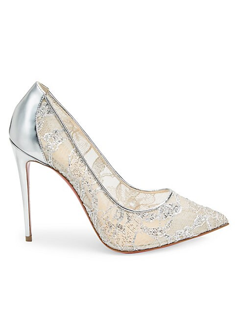 "Image of Barely-there lace pumps with gleaming metallic accents. Polyamide/cotton/leather upper. Point toe. Leather lining and sole. Made in Italy. SIZE. Self-covered stiletto heel, 4"" (100mm)."