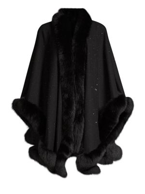 Sofia Cashmere Accessories Fox Fur & Cashmere U-Cape
