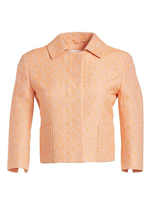 Image of EXCLUSIVELY AT SAKS FIFTH AVENUE. A pastel-hued tweed pairing a lilac base with cheery tangerine threading makes a stunning base for this boxy cropped jacket. Partner with the matching skirt and a kicky beret for a tailored look with a playful touch. Spre