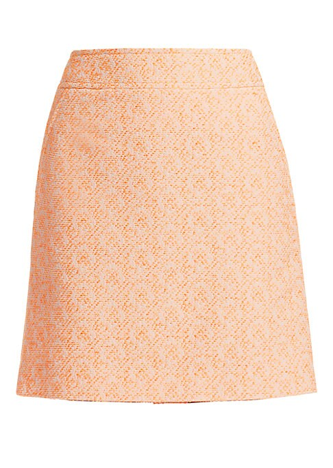 Image of EXCLUSIVELY AT SAKS FIFTH AVENUE. Cut in an A-line silhouette, this tailored skirt is crafted out of a tangerine-hued tweed. Style with the matching jacket and a well-worn band tee for a high-low look. Banded waist. Concealed back zip closure. Waist slash