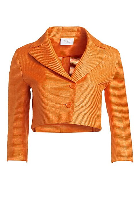 Image of EXCLUSIVELY AT SAKS FIFTH AVENUE. Crafted out of tangerine-hued silk with a textured finish, this cropped jacket is an unexpectedly cheery number. Wear over the matching dress for a demure look with retro look. Wide peak lapels. Three-quarter sleeves. Two