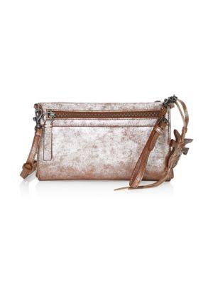 Carson Metallic Leather Wristlet Crossbody Bag, Silver Multi