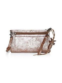 e99952f69843 Frye Carson Metallic Leather Wristlet Crossbody Bag