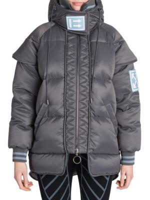 Maxi Tech Puffer Coat, Grey