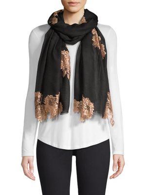 BINDYA Evening Lace Wool & Silk Scarf in Black
