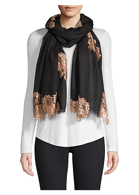 """Image of This luxe wool scarf is adorned with silk patches of evening lace. Wool/silk. Dry clean. Imported. SIZE.28""""W x 80""""H."""