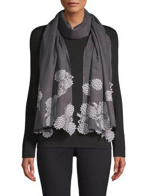 BINDYA Evening Lace Wool & Silk Scarf in Charcoal