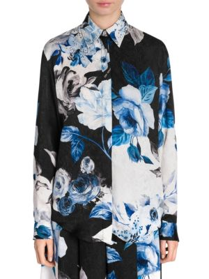 Floral-Print Silk Button-Front Blouse, All Black