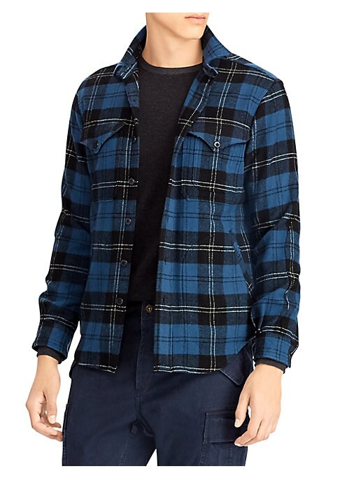"Image of Soft cotton twill plaid button-down is casual wardrobe essential. Spread collar. Long sleeves. Front button close. Chest button flap pockets. Button cuffs. Cotton. Machine wash. Imported. SIZE & FIT. Regular fit. About 29"" from shoulder to hem."