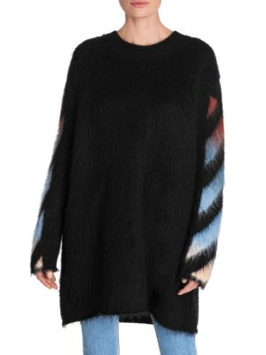 Diagonal-Print Mohair Intarsia Sweater, Black Multi