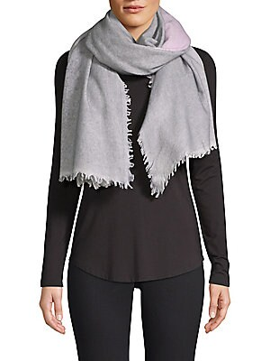 """Image of This warm oversize scarf is crafted in luxe cashmere. Cashmere Dry clean Imported SIZE 40""""W x 80""""H. Soft Accessorie - Scarves. Bindya. Color: Grey."""