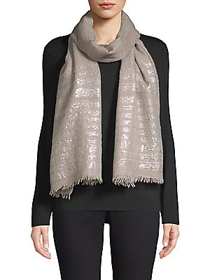 """Image of Luxe cashmere stole finished with metallic lurex stripes. Cashmere Dry clean Imported SIZE 20""""W x 80""""H. Soft Accessorie - Scarves. Bindya. Color: Light Grey Melange."""