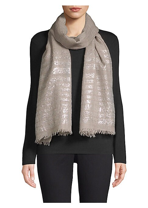 """Image of Luxe cashmere stole finished with metallic lurex stripes. Cashmere. Dry clean. Imported. SIZE.20""""W x 80""""H."""