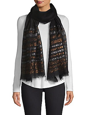 """Image of Elegant cashmere stole finished with chic metallic striping. Striped trim Cashmere Dry clean Imported SIZE 28""""W x 80""""H. Soft Accessorie - Scarves. Bindya. Color: Black."""