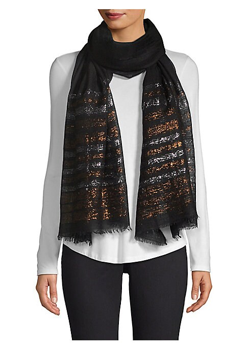 """Image of Elegant cashmere stole finished with chic metallic striping. Striped trim. Cashmere. Dry clean. Imported. SIZE.28""""W x 80""""H."""