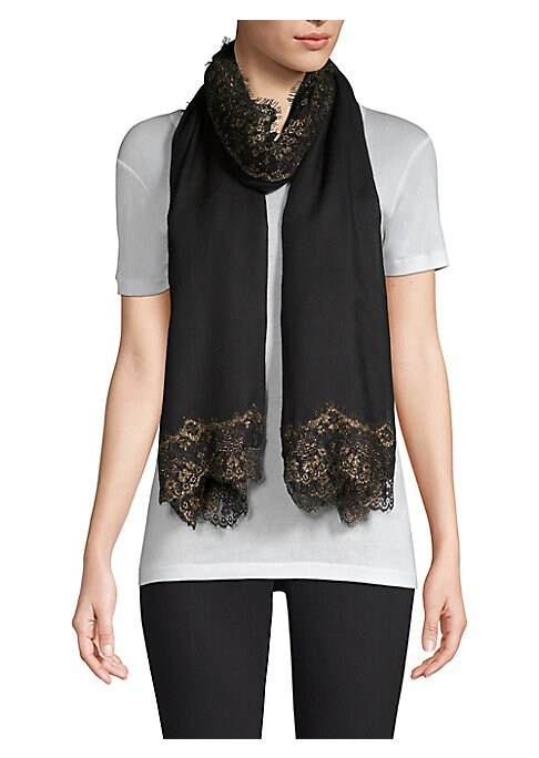 """Image of Luxe cashmere and silk shawl trimmed with delicate lace. Cashmere/silk. Dry clean. Imported. SIZE.28""""W x 80""""H."""