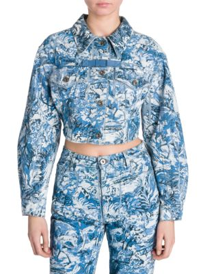 Cropped Tapestry Print Denim Jacket In Blue, Medium Blue