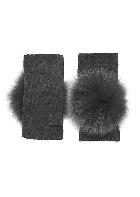 "Image of Bold pom poms lend glamour to these knit gloves. Cashmere. Fur type: Dyed fox. Fur origin: Finland. Dry clean. Imported. SIZE. Length, 7""."
