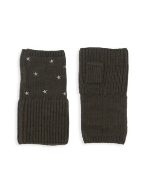 CAROLYN ROWAN Chunky Merino Wool Fingerless Gloves in Olive Green