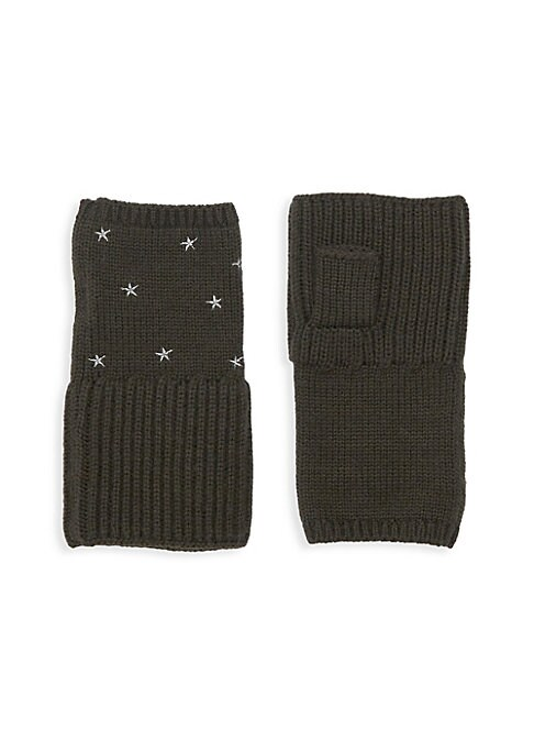 "Image of Merino wool ribbed fingerless gloves with allover embroidered silver stars. Fingerless. Cashmere. Dry clean. Imported. SIZE. Length, about 6.25""."