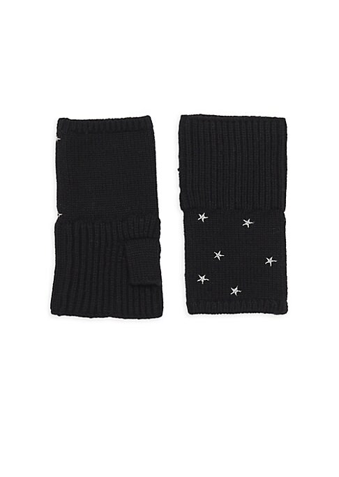 "Image of Fingerless rib-knit gloves flaunt bold embroidered stars. Cashmere. Dry clean. Imported. SIZE. Length, 6.25""."