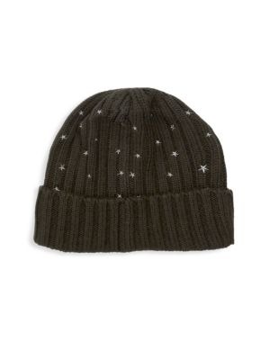 CAROLYN ROWAN Chunky Cashmere Embroidered Hat in Olive Green