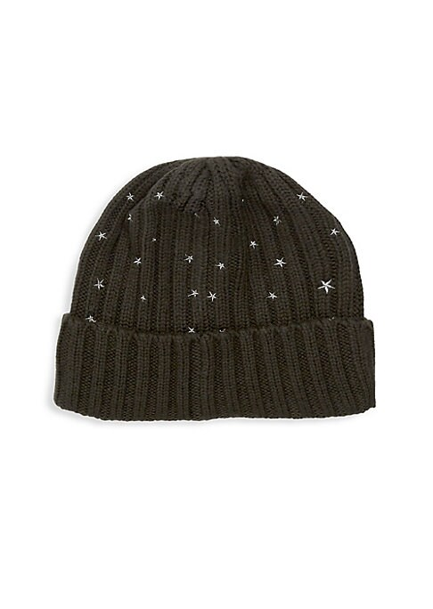 "Image of Cashmere ribbed beanie with folded cuff and allover embroidered silver stars. Folded brim. Cashmere. Dry clean. Imported. SIZE. Diameter, about 7"".9""W x 8.5""L."