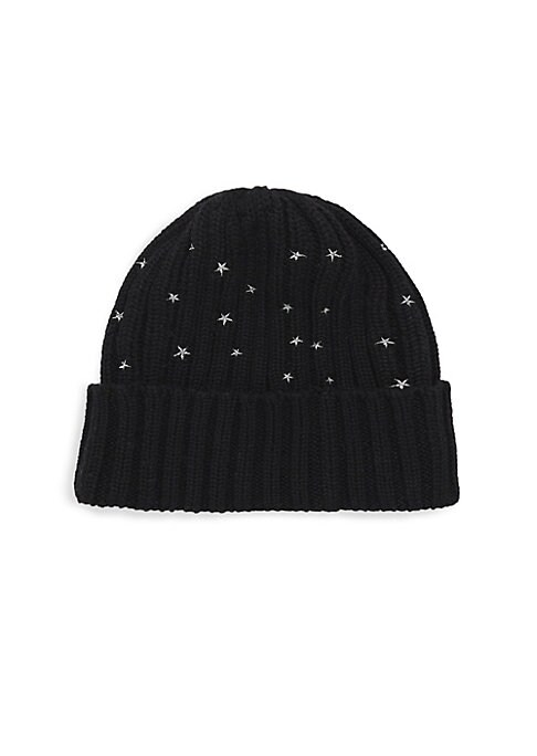 "Image of Cable knit beanie flaunts quirky embroidered stars. Cashmere. Dry clean. Imported. SIZE. Diameter, 7""."