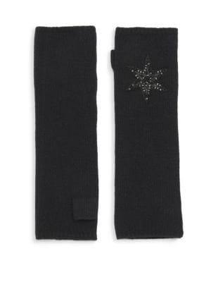 CAROLYN ROWAN Long Black Cashmere Fingerless Gloves With Leather Star