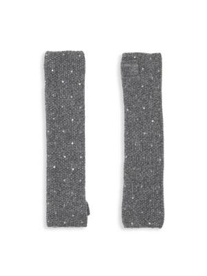 CAROLYN ROWAN Fingerless Cashmere Sequin Gloves in Grey Combo