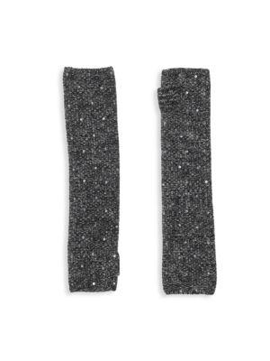 CAROLYN ROWAN Fingerless Cashmere Sequin Gloves in Black Combo