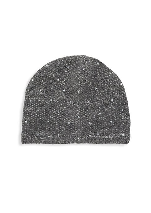 "Image of Speckled sequins lend a vintage aesthetic to this knit beanie. Cashmere. Dry clean. Imported. SIZE. Diameter, 7""."