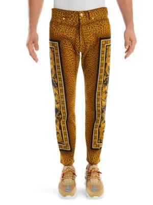 Versace Leopard Print Baroque Skinny Jeans