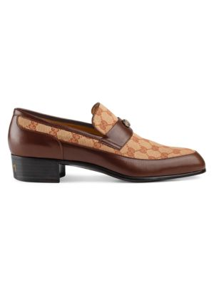 Printed Monogrammed Coated-Canvas And Leather Loafers - Brown