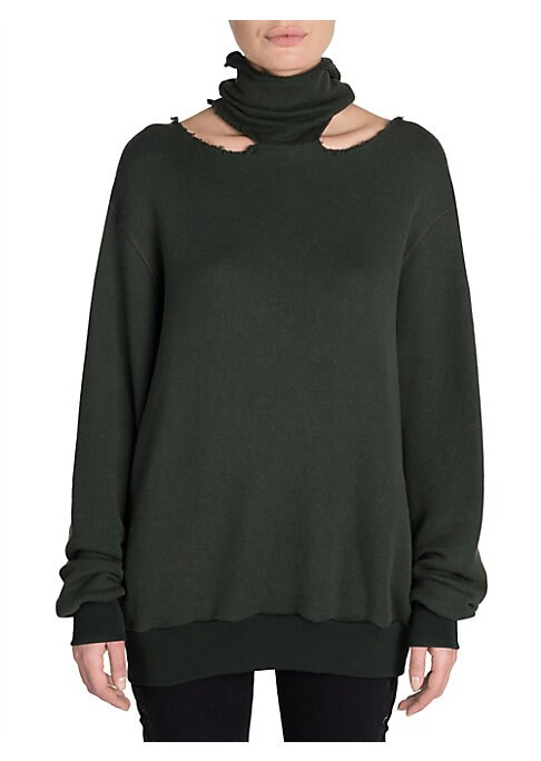Image of Ben Taverniti's street-born sportswear aesthetic gets the luxe treatment with the addition of lush cashmere. The loose silhouette features a mockneck with raw edge cutouts and elongated sleeves. Mockneck. Raw edge cutout neckline. Elongated sleeves. Bande