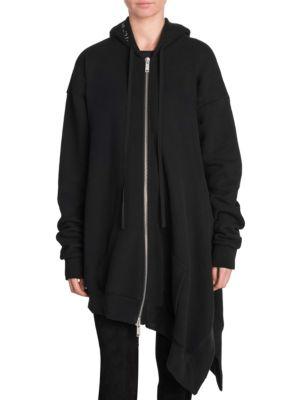 Asymmetrical Terry Hoodie in Black