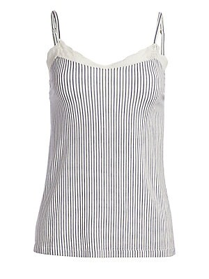 Image of Striped camisole finished with a lace trim Subtle V-neck Spaghetti straps Modal/cotton Hand wash Imported. Lingerie - Modern Sleepwear. Eberjey. Color: Multi Ivory. Size: Small.