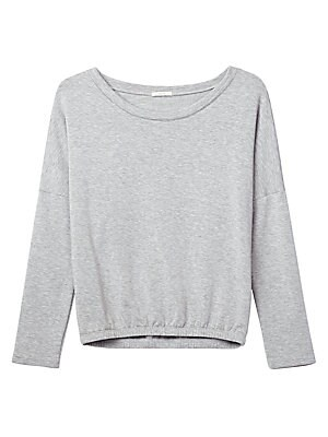 Image of Slouchy sweatshirt with a generous neckline Scoopneck Long sleeves Modal/spandex Hand wash Imported. Lingerie - Modern Sleepwear. Eberjey. Color: Heather Grey. Size: Large.