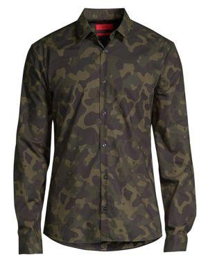 HUGO BOSS Ero Camo Cotton Woven Shirt