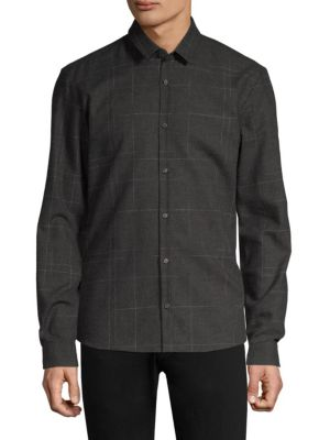HUGO BOSS Ero Flannel Plaid Extra Slim Fit Button-Down Shirt in Grey