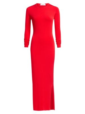 TRE BY NATALIE RATABESI Viscose Bodycon Gown in Ruby