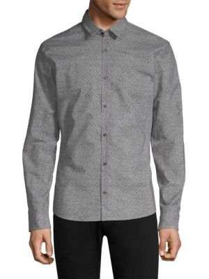 HUGO BOSS Ero Confetti Dot Woven Button-Down Cotton Shirt in Black