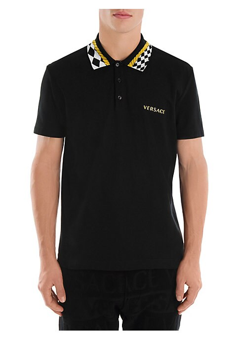 """Image of The bold diamond check collar accentuates this sophisticated polo's block letter logo embroidery. Polo collar. Short sleeves. Three-button placket. Cotton. Dry clean. Made in Italy. SIZE & FIT. About 30"""" from shoulder to hem."""