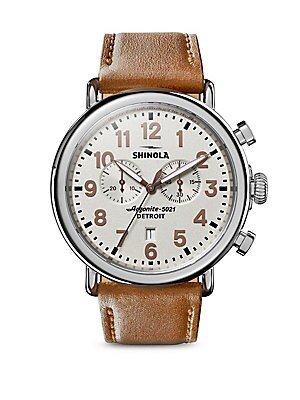 Runwell Chronograph Leather Strap Watch by Shinola