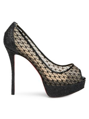 Fetish 130 Lace Peep Toe Pumps in Multi
