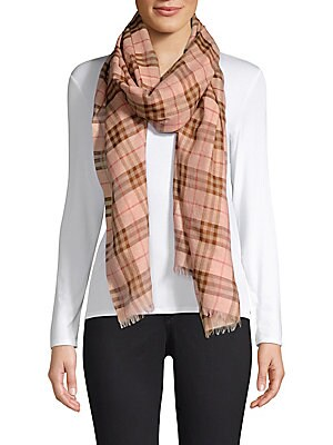 "Image of This billowy chiffon scarf flaunts brand's iconic tartan. Wool/silk/polyamide/metallic fiber Dry clean Made in Italy SIZE 27.6""W x 86.6""L. Soft Accessorie - Day And Evening Wraps. Burberry. Color: Ice Pink."