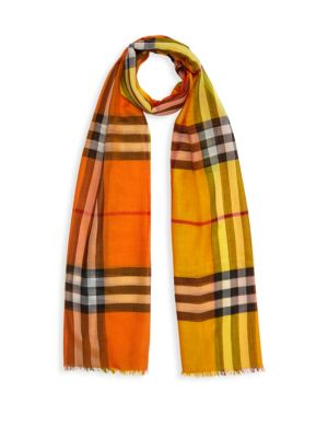 Burberry Scarves Oversized Giant Check Wool-Silk Scarf