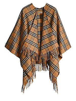 "Image of Elegant cape flaunts brand's iconic tartan design and fringes. Merino wool/cashmere Dry clean Imported SIZE 53.1""W x 55.1""L. Soft Accessorie - Day And Evening Wraps. Burberry. Color: Antique Yellow."