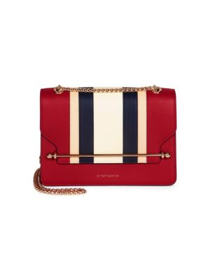 STRATHBERRY East/West Stripe Leather Crossbody Bag - Red in Ruby With Stripes